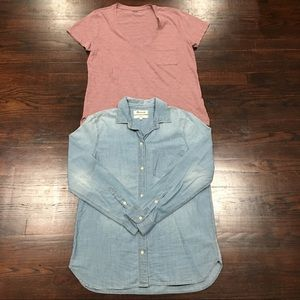 Madewell Chambray Button front and v-Neck bundle M